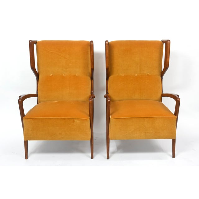 Rare Pair of Italian Modern Walnut Armchairs, Orlando Orlandi For Sale - Image 11 of 11