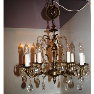 1950s Mid Century Brass Crystal 5 Arm Chandelier Branch Designed Arms Preview