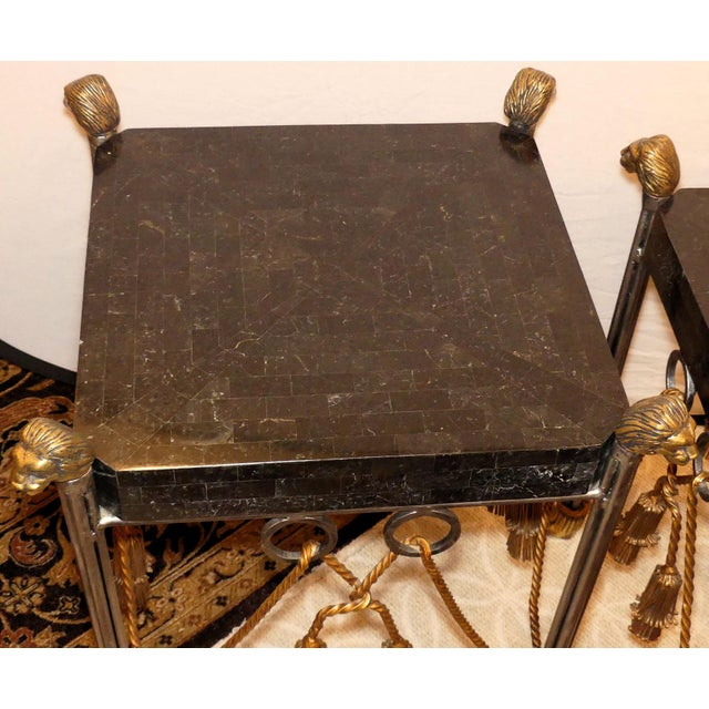Maitland Smith Hollywood Regency Iron & Brass Tassel Table With Brass Lion Heads- a Pair For Sale In West Palm - Image 6 of 11