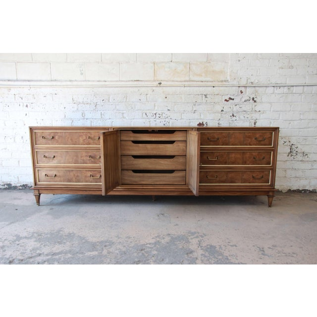 Bernhard Rohne for Mastercraft Burled Amboyna and Brass Mid-Century Credenza - Image 6 of 11
