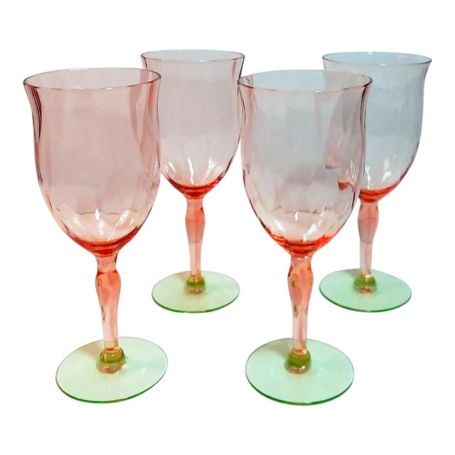 Pink & Green Weston Diamond Optic Goblets - Set of 4 For Sale