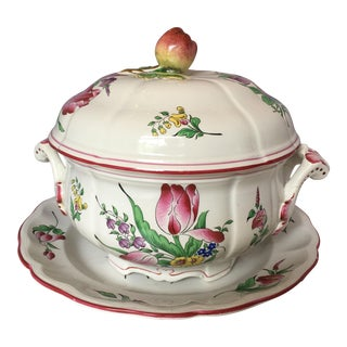 French Pottery Tureen & Tray - A Pair