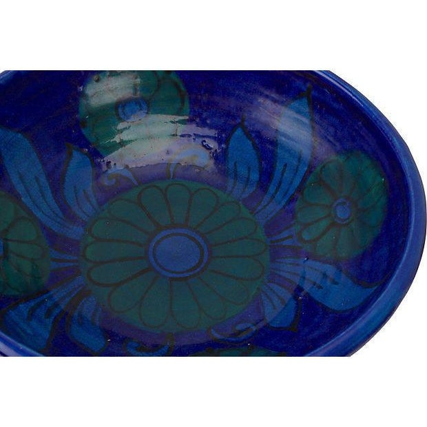 Mid-Century Modern Bitossi Flowered Rimini Blue Footed Bowl For Sale - Image 3 of 5
