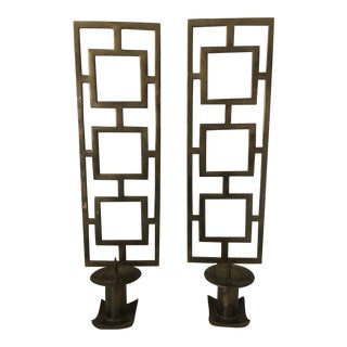 Mid-Century Modern Brass Candle Holders - a Pair For Sale
