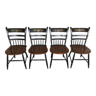 L. Hitchcock Country Sheraton Black Harvest Windsor Dining Chairs - Set of 4 For Sale