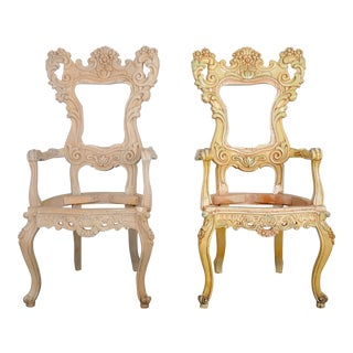 1920s Pair of Victorian Handcarved Maple Armchairs Frame For Sale