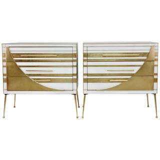 Contemporary Italian Gold Brass and White Cream Glass Chests Side Tables - a Pair For Sale