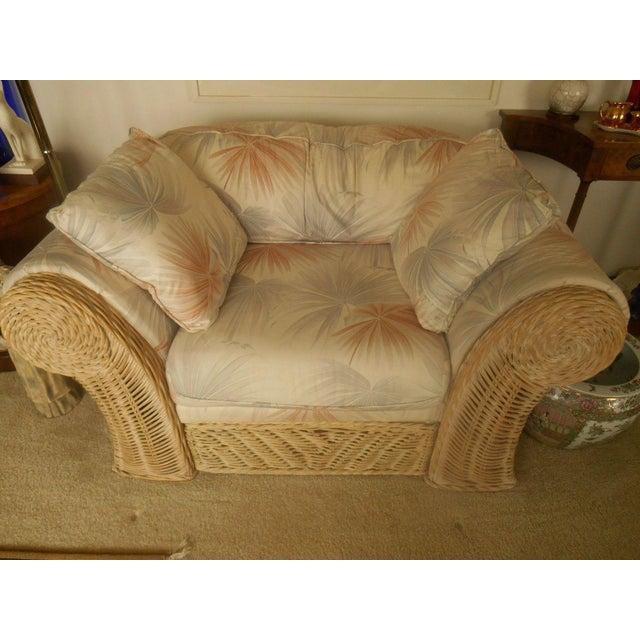 Custom Palm Beach Regency Bamboo Lounge & Ottoman - Image 4 of 8
