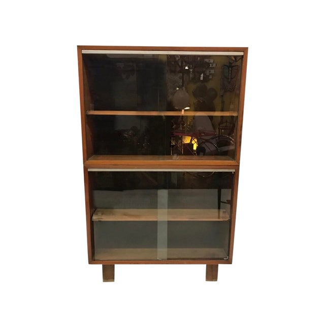 Mid-Century Modern Herman Miller George Nelson Two Part Glass Bookcase Cabinet For Sale