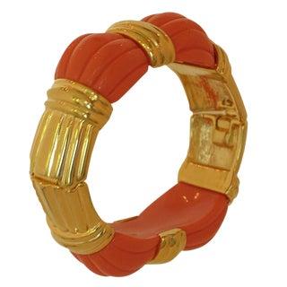 Kjl Kenneth J Lane Coral & Gold Hinge Clamper Bracelet Barely Worn For Sale