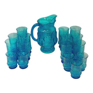 Turquoise Glass Pitcher and Tumblers Set of 17 For Sale