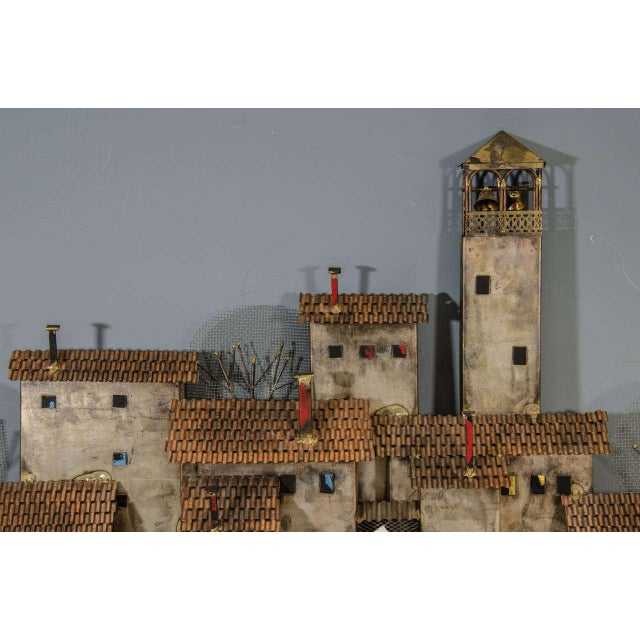 Brutalist AMAZING COLORFUL WALL- MOUNTED MEDITERRANEAN VILLAGE SCULPTURE BY CURTIS JERE For Sale - Image 3 of 5