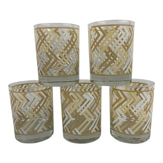 Vintage Georges Briard Tan and White Lattice Pattern Lowball Glasses - Set of 5 For Sale