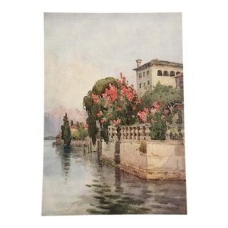 1905 Original Italian Print - Italian Travel Colour Plate - Oleanders, Lago d'Orta For Sale