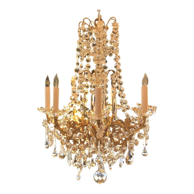 Antique French Fine Crystal and Bronze d'Ore Chandelier, Circa 1910-1920. For Sale