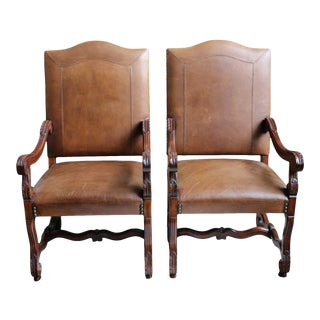 Leather Arm Chairs With Nail Head and Carving Details - a Pair For Sale