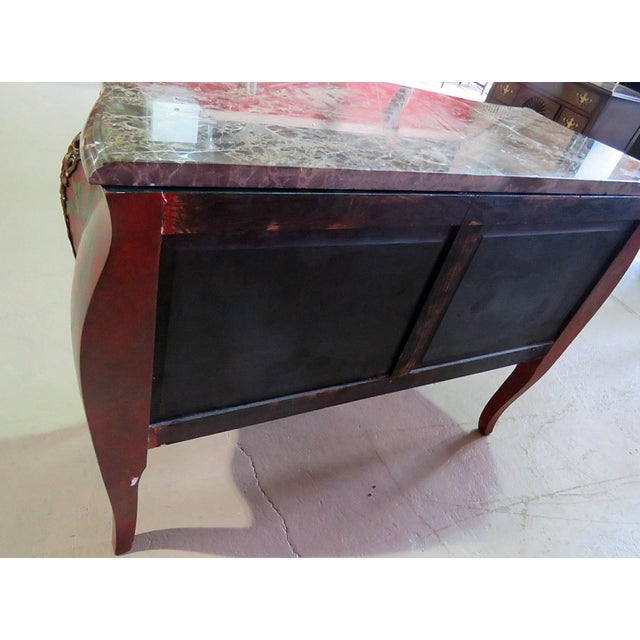 Marble Top Green Paint Decorated Bombe Red Commode For Sale - Image 9 of 11