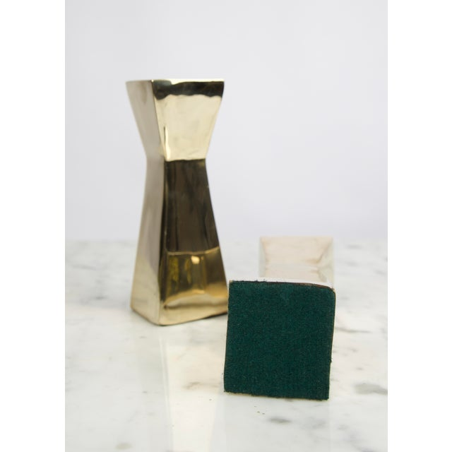 Vintage Modern Brass Candlesticks - A Pair For Sale In New Orleans - Image 6 of 7