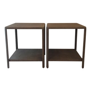 Modern Gabby Home Daniel Faux Shagreen Side Tables- A Pair For Sale