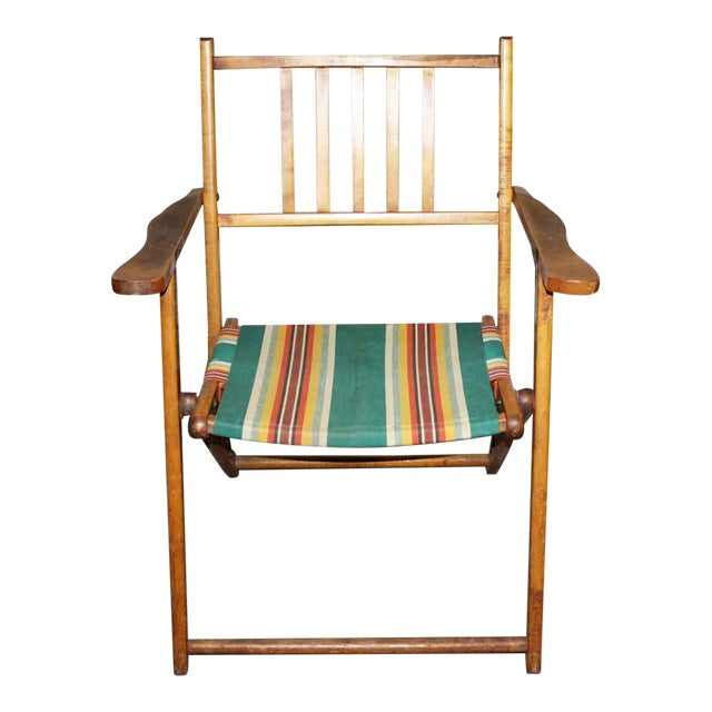 Wooden Folding Beach Chair - Image 1 of 5