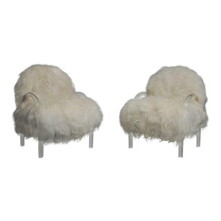 Mid Century Pace Collection Lucite and Mongolian Fur Lounge Chairs - a Pair For Sale
