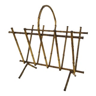 Italian Gilt Bamboo Magazine Holder