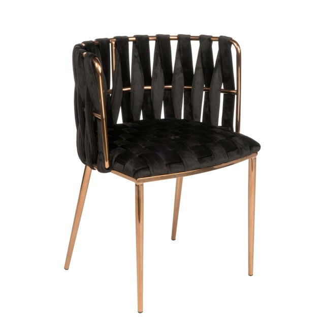 Modern Milano Dining Chair in Black and Gold For Sale - Image 4 of 5