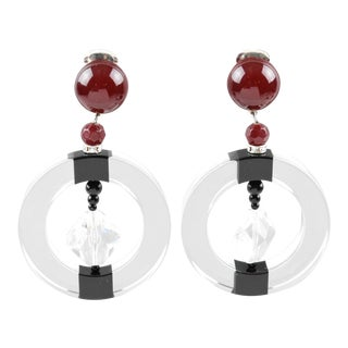 Angela Caputi Hoop Dangling Black and Clear Resin Clip on Earrings For Sale