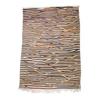 "Multi-Color Stripe Moroccan Wool Flat-Weave Rug: Blue, Orange, Black, White - 10'6"" X 6'7"" Ft For Sale"