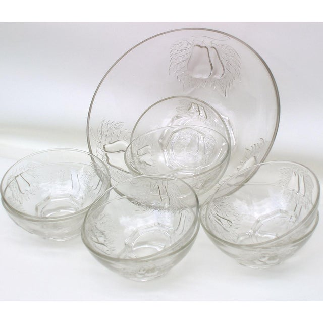 1930's Indiana Glass Pear Dessert Berry Bowls Set - Image 6 of 8