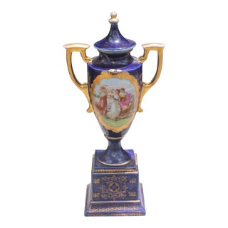 19th Century Antique Royal Vienna Lidded & Handled Urn For Sale