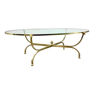 Global Views Neoclassical Style Gold and Glass Fleece Cocktail Table For Sale