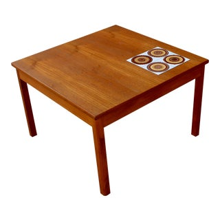 Danish Mid-Century Teak Table With Tile Inlay Side Table