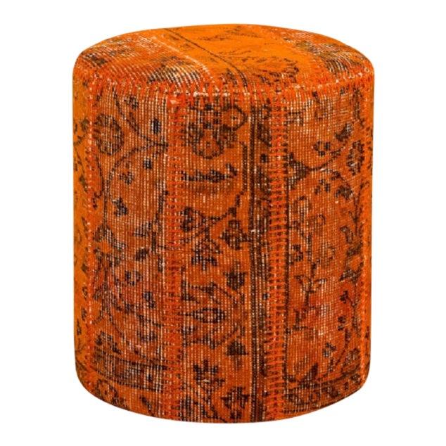 Vintage Turkish Patchwork Kilim Stool Handmade Pouf For Sale