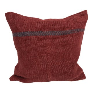 Red Traditional Turkish Anatolian Vintage Decorative Kilim Pillow For Sale
