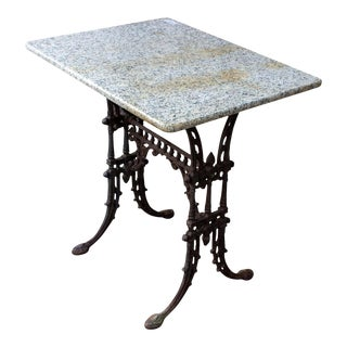 Antique French Marble and Cast Iron Bistro Table, Circa 1900 For Sale