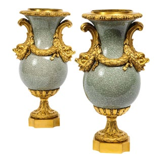Louis XVI Ormolu-Mounted Chinese Celadon Crackle Vases With Dolphin Handles - a Pair For Sale