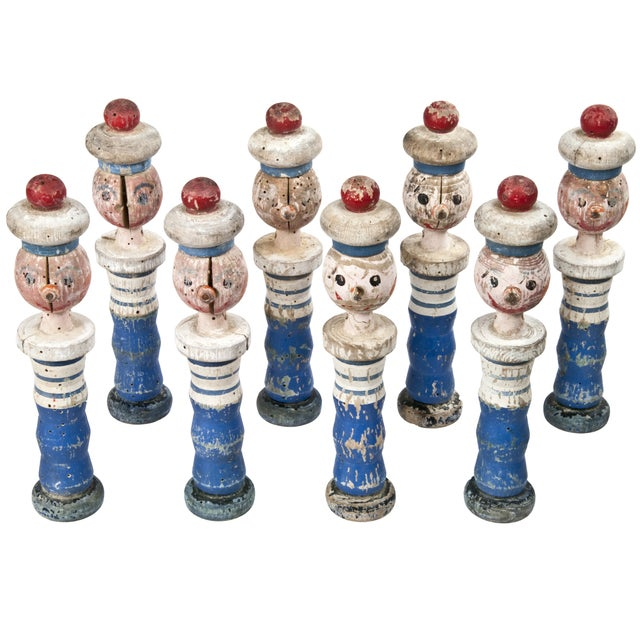 Vintage French Wood Sailor Skittles - Set of 8 - Image 1 of 3