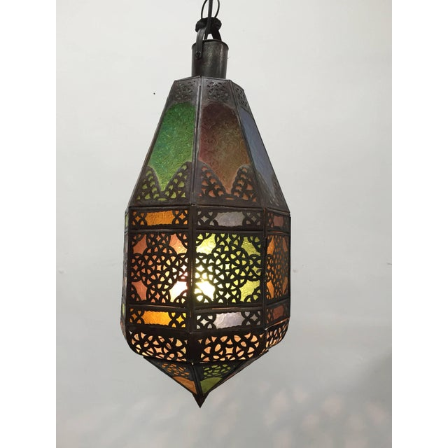 Moroccan Light Fixture With Colored Glass and Metal Filigree Moorish Designs For Sale - Image 10 of 10