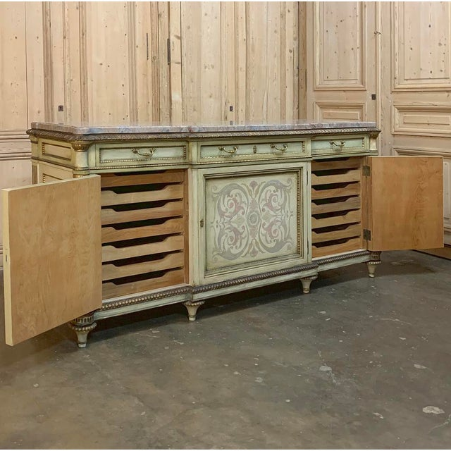 Antique Italian Marble Top Painted Buffet For Sale - Image 10 of 13