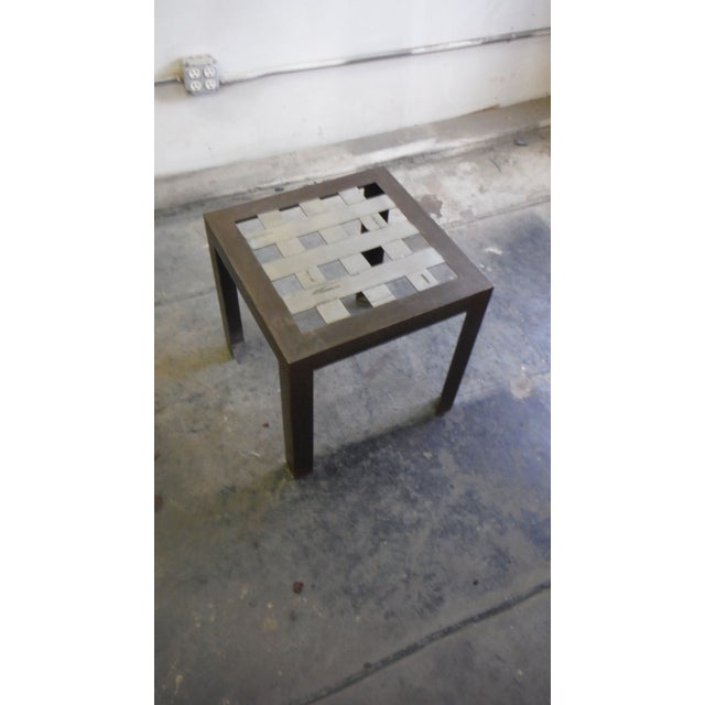 Contemporary Stainless Steel Grid Side Table For Sale - Image 3 of 5