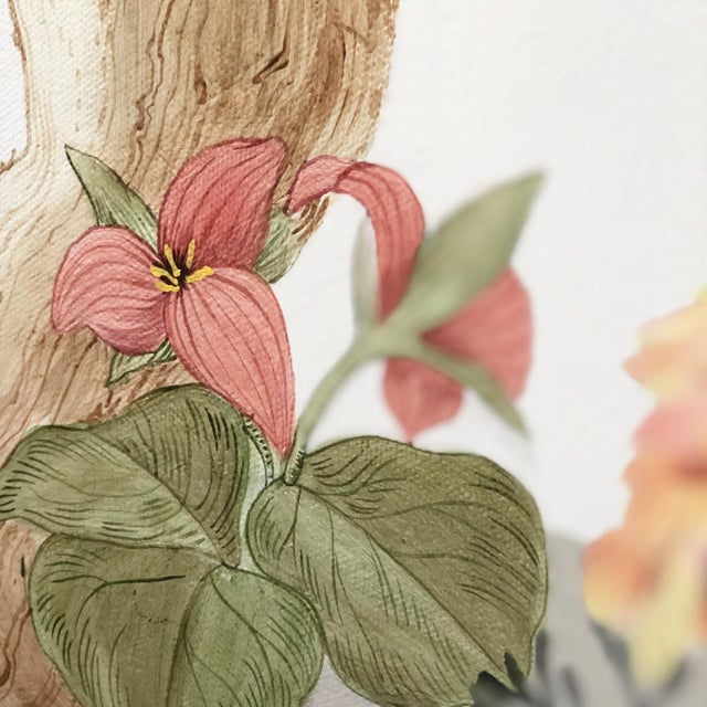 A quiet woodland forest scene is painted in a modern Chinoiserie style. Delicate ferns, deep red trillium and pinesap...