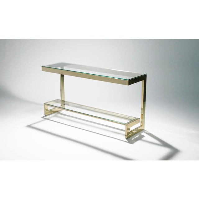 Guy Lefevre Pair of Large Brass Console Tables for Maison Jansen, 1970s For Sale - Image 6 of 11