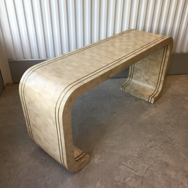 1980s Maitland Smith Tessellated Stone and Brass Inlay Waterfall Console Table For Sale - Image 5 of 8