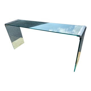 Vintage Leon Rosen for Pace Waterfall Chrome Console 62''w For Sale