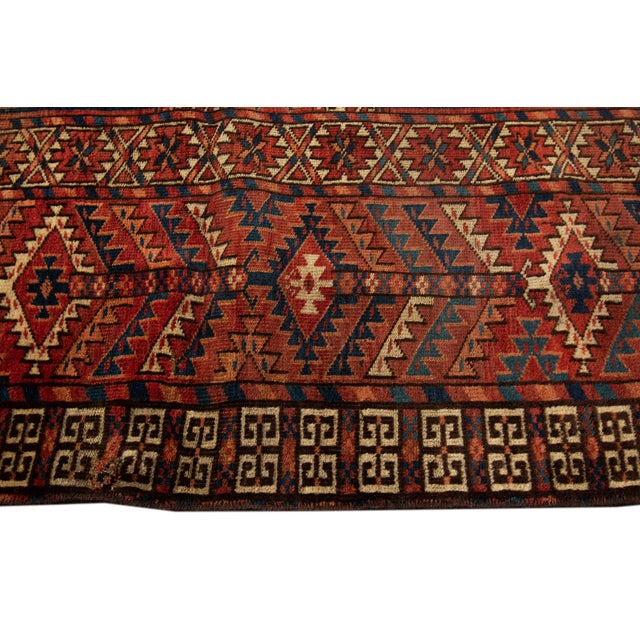 """Early 20th Century Distressed Antique Turkaman Rug, 4'2"""" X 5' For Sale - Image 5 of 8"""