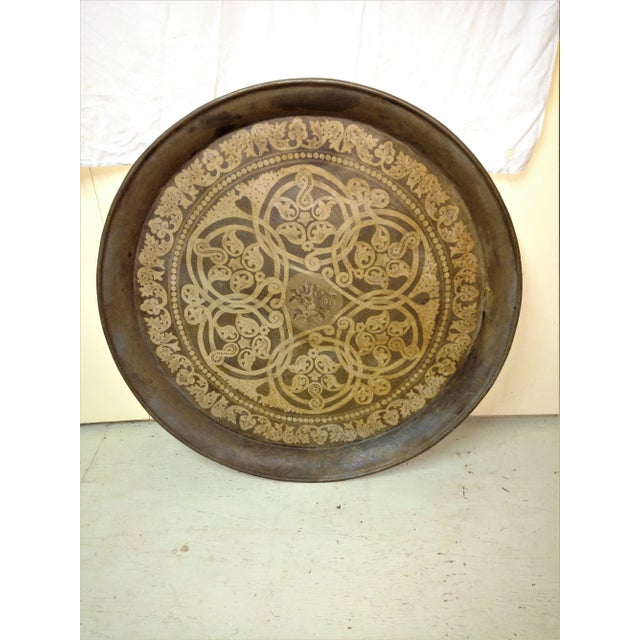 Metal Huge Antique Hand Painted Metal Festival Tray For Sale - Image 7 of 7