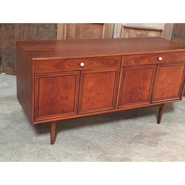 Drexel Declaration series credenza designed by Kipp Stewart with four doors and two drawers and original cue ball drawer...