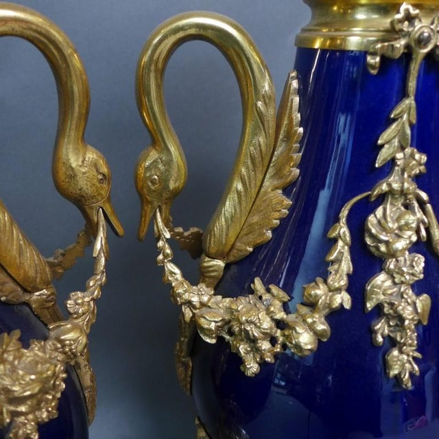 French Sevres Style Bronze Mounted Cobalt Blue Porcelain Urns as Lamps - a Pair For Sale - Image 3 of 10