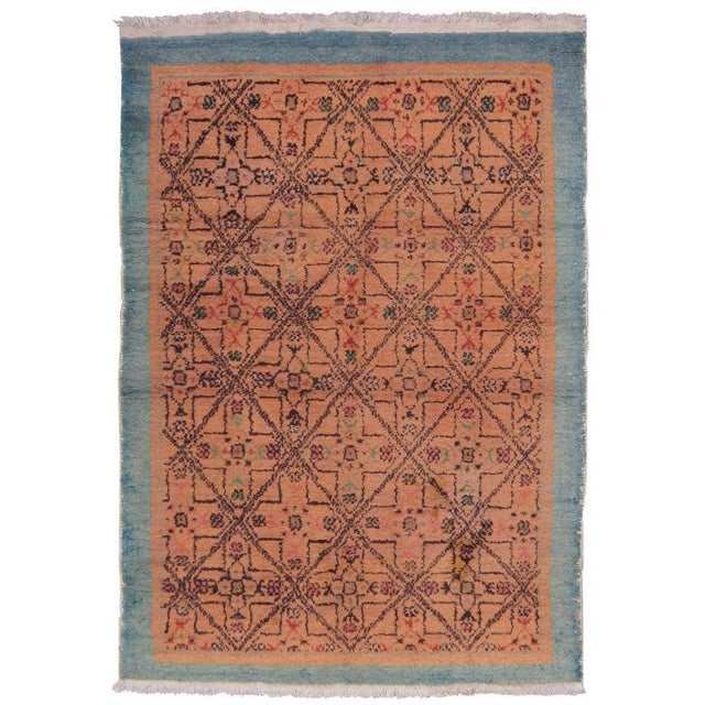 """A pair of rugs from the Oushak region with an unusual design and color palette. (DK-41-49---> 3' 8"""" x 5' 7"""", DK-41-50--->..."""